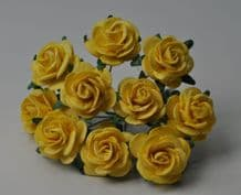 LIGHT YELLOW ROSES (2.0 cm) Mulberry Paper Roses