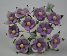 LILAC VIOLET WHITE 2-LAYERED sweetheart blossom Mulbery Paper Flowers