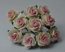 OFF WHITE PINK CENTER ROSES (2.0 cm) Mulberry Paper Roses