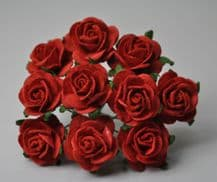 RED ROSES (2.5 cm) Mulberry Paper Roses