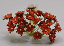 RED SINGLE-LAYERED Miniature Daisy (XS) Mulberry Paper Flowers