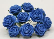 ROYAL BLUE ROSES (2.0 cm) Mulberry Paper Roses