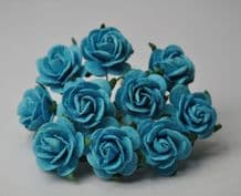 TURQUOISE BLUE ROSES (2.0 cm) Mulberry Paper Roses