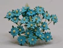 TURQUOISE BLUE SINGLE-LAYERED Miniature Daisy (XS) Mulberry Paper Flowers