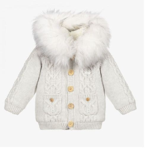 Caramelo Kids AW21 Boys Grey Fleece Lined Knitted Coat