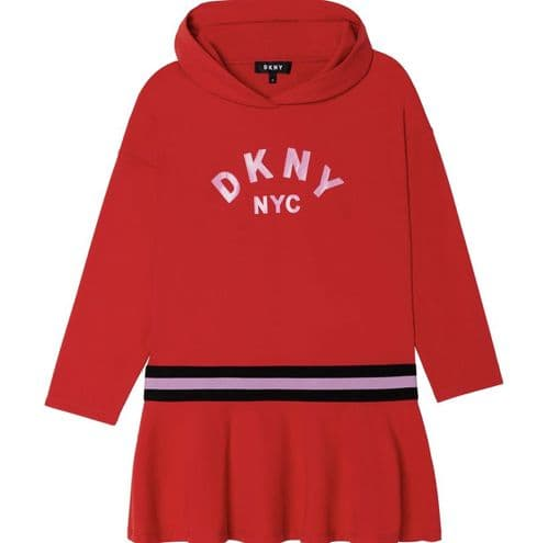 DKNY AW21 Girls Red Hooded Dress