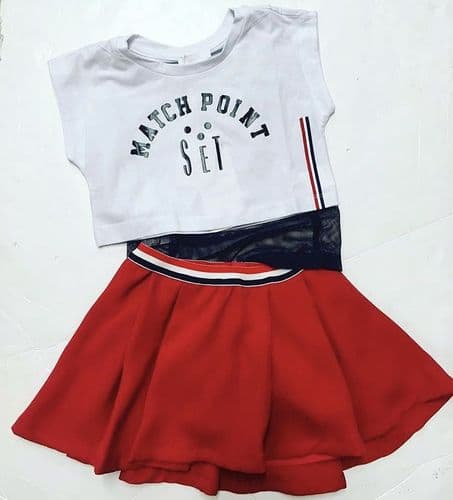 Fun & Fun SS19 T Shirt Off white and red skirt