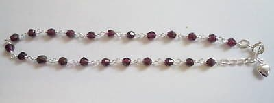 925 Silver Anklet with garnet style beads and heart