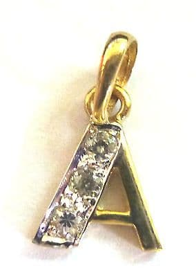 9ct Gold  Initial Set with Cubic Zirconium Charm / Pendant                A85310