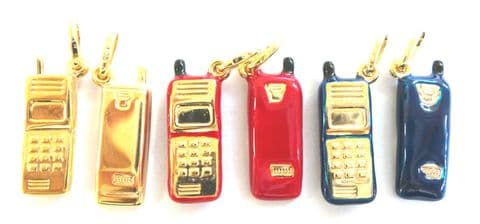 9ct  Gold Mobile Phone Charm available in three different finishes    A32125/8/9 - 111555727266