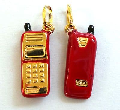 9ct  Gold Mobile Phone Charm available in three different finishes    A32125/8/9