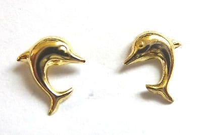 9ct Gold Tiny Dolphin Stud Earring                                     A58400