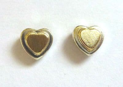 9ct Gold Two Tone Heart Stud Earring                                      A60102