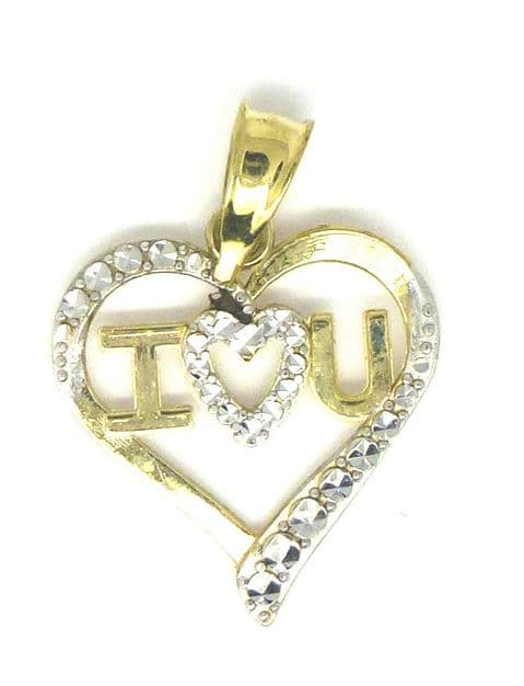 9ct Gold Two Tone I Love You Heart Charm /Pendant                           1561