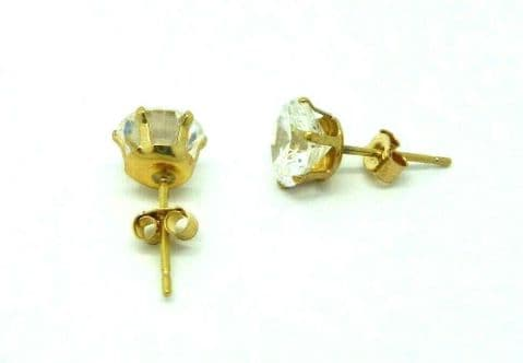 9ct Gold White Round Cubic Zirconia 6 Claw Solitaire Stud Earrings, 6mm