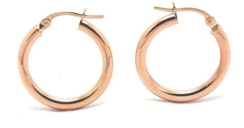 9ct Rose / Red Gold Plain Hoop Earring available in Three Sizes
