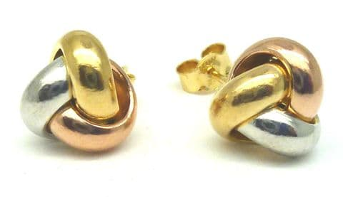 9ct Three Colour Gold Three Way Knot Stud Earrings                          6249 - 121691944487