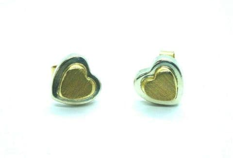 9ct White and Yellow Gold Heart Stud Earrings