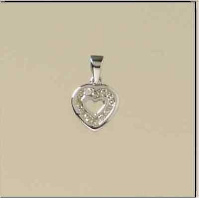 9ct White Gold 12PT Diamond Chanel Set Cutout Heart Pendant         A96242