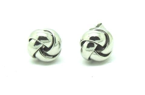 9ct White Gold Four Way Knot Stud Earrings                          6259