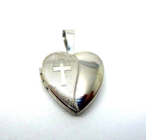 9ct White Gold Opening Locket with etched Cross Design Christening Gift