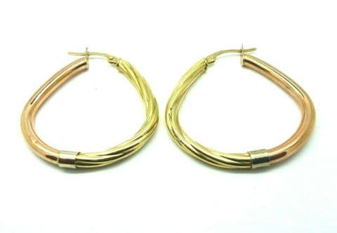 9ct Yellow and Red / Rose Gold Hallmarked Teardrop Shaped Hoop Drop Earrings