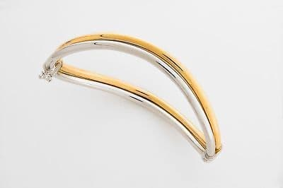 9ct Yellow and White Gold  Hinged Bangle                                 A18220