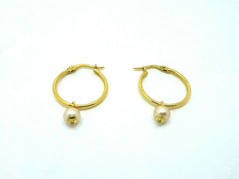 9ct Yellow Gold 18mm Hoops with Pink Pearl Drops