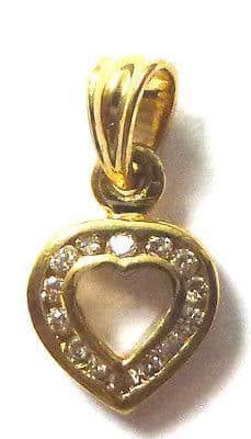 9ct Yellow Gold 5pt Channel Set Diamond Small Heart Pendant                96238