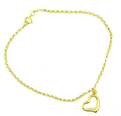 9ct Yellow Gold 7 inch Belcher Bracelet with Cutout Heart               6591