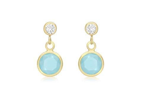 9ct Yellow Gold Blue Aqua Crystal with Cubic Zirconia Drop Stud Earrings    9089