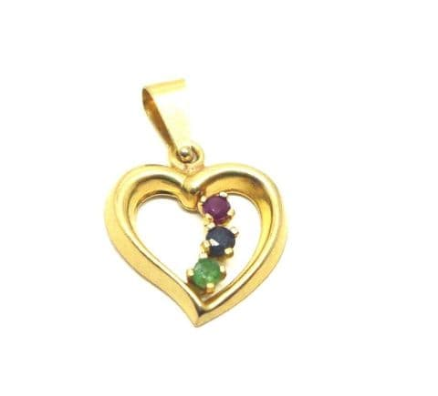 9ct Yellow Gold Cutout Heart set with real Sapphire Ruby and Emerald