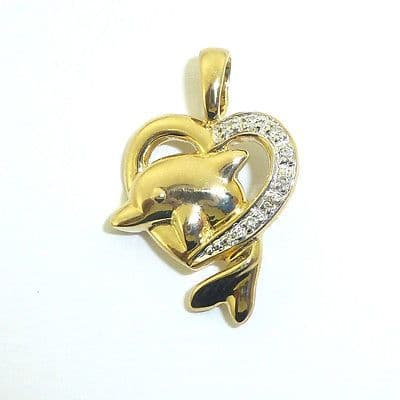 9ct Yellow Gold Diamond Heart with Dolphin Pendant                        A96808