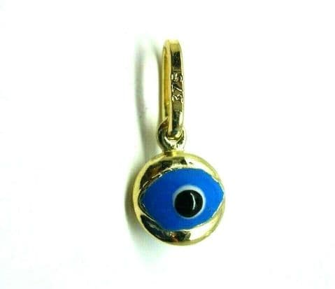 9ct Yellow Gold Enamel Small Evil Eye Pendant / Charm                  3399
