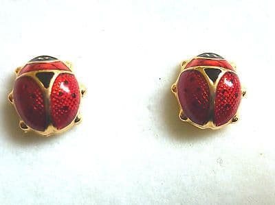9ct Yellow Gold Enamelled Ladybird Studs                                  A21595