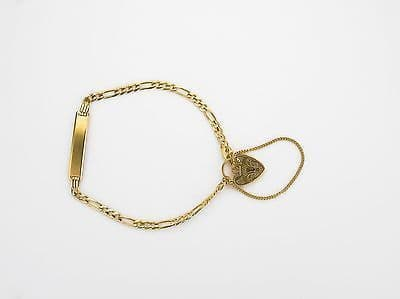 9ct Yellow Gold Figaro Childs Identity Bracelet with Padlock             A19562