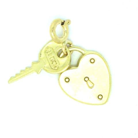 9ct Yellow Gold Heart Lock and Key Charm on Bolt Ring                       8963
