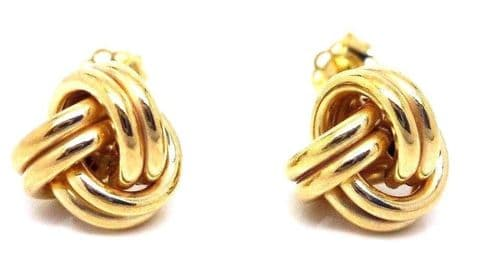 9ct Yellow Gold Heavy Weight Double Knot Stud Earrings