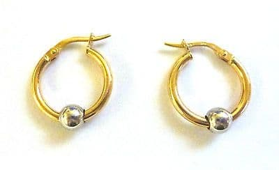 9ct Yellow Gold Hoop With Sliding White Gold Bead Available in three sizes