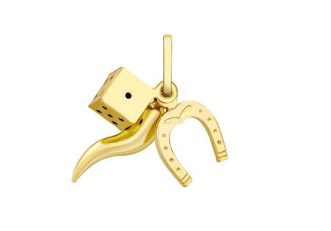 9ct Yellow Gold Lucky Dice / Horn of Life / Horseshoe  Charm/ Pendant       0513