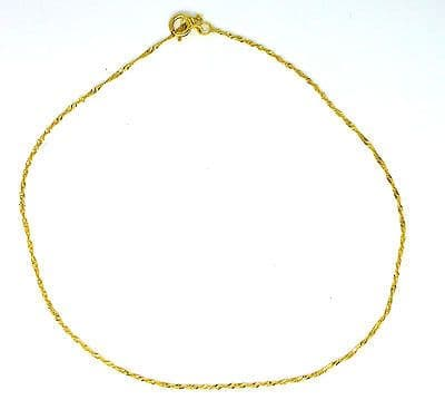 9ct Yellow Gold Medium Weight Twisted Curb Ankle Chain / Anklet             0474