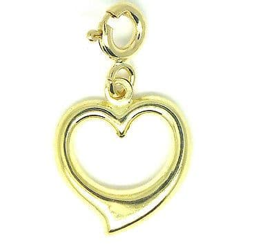 9ct Yellow Gold Open Heart Charm With Bolt Ring                            9043