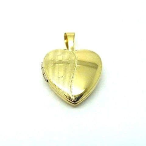 9ct Yellow Gold Opening Locket with etched Cross Design Christening Gift