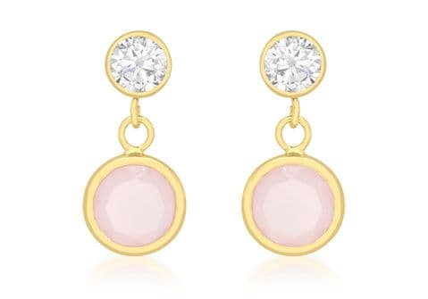 9ct Yellow Gold Pink Crystal with Cubic Zirconia Drop Stud Earrings    9109
