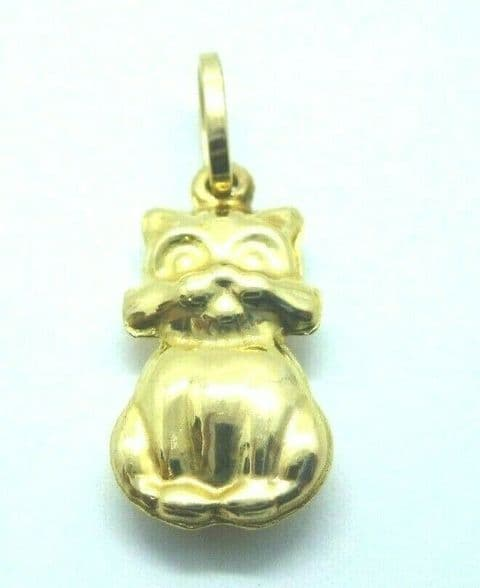 9ct Yellow Gold Pussy Cat Pendant                                         0223