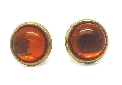 9ct Yellow Gold Round Amber Stud Earrings                             2705