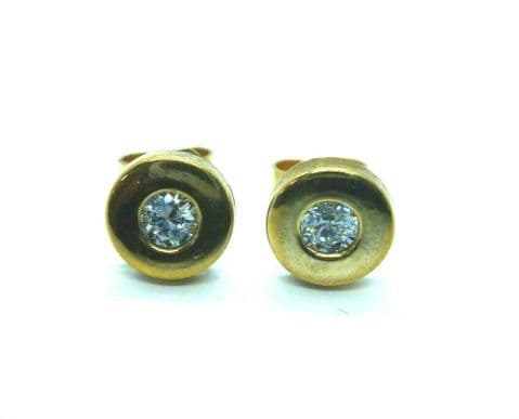 9ct Yellow Gold Round Stud Earrings with Central Set Cubic Zirconia