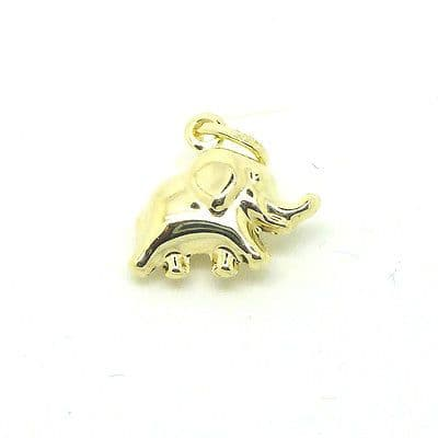 9ct Yellow Gold Small Elephant Charm                               3503