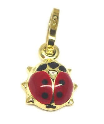 9ct Yellow Gold Small Enamelled Ladybird  Charm                            4863