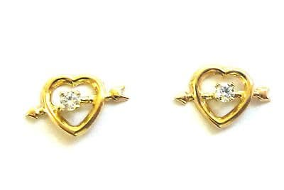 9ct Yellow Gold Small Heart and Arrow Studs with Cubic Zirconia           A63373